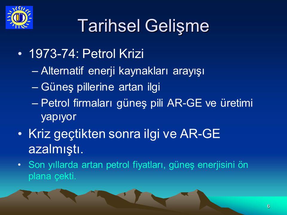 6 Tarihsel Gelişme 1973-74: Petrol Krizi –Alternatif enerji kaynakları arayışı –Güneş pillerine artan ilgi –Petrol firmaları güneş pili AR-GE ve üreti