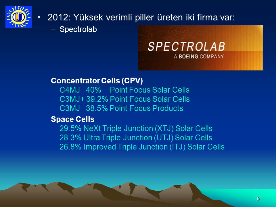 10 Tarihsel Gelişme Birinci nesil güneş pilleri –Silisyum tabanlı (tek kristal) –Tek eklemli –Geniş alanlı –Verim %20'nin altında (Lab şartlarında %27) –Ticari piyasanın %86'sına hakim