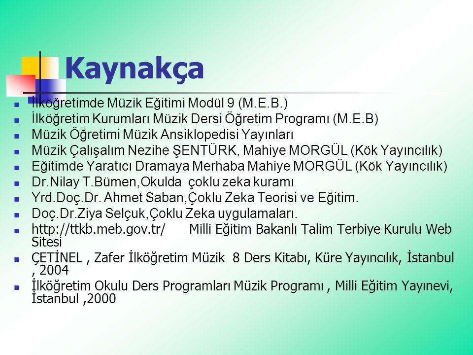 Kaynakça İlköğretimde Müzik Eğitimi Modül 9 (M.E.B.) İlköğretim Kurumları Müzik Dersi Öğretim Programı (M.E.B) Müzik Öğretimi Müzik Ansiklopedisi Yayı