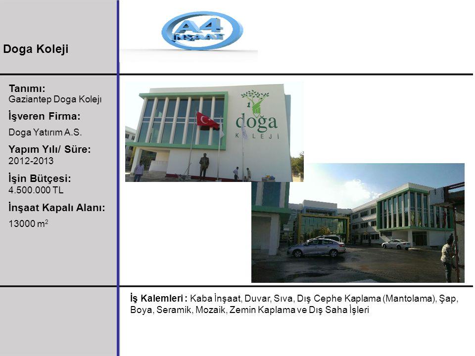 Tanımı: Gaziantep Doga Kolejı İşveren Firma: Doga Yatırım A.S. Yapım Yılı/ Süre: 2012-2013 İşin Bütçesi: 4.500.000 TL İnşaat Kapalı Alanı: 13000 m 2 İ
