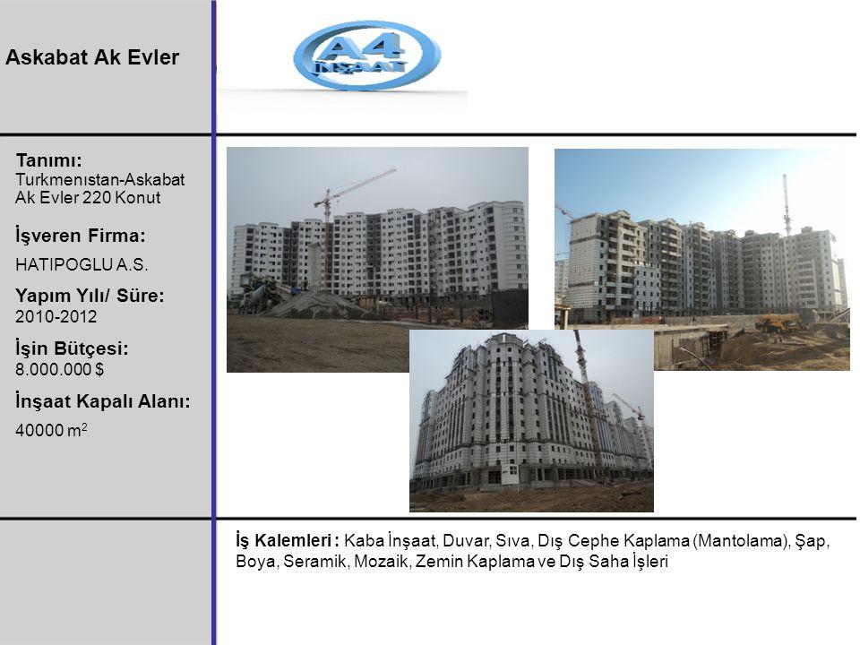 Tanımı: Turkmenıstan-Askabat Ak Evler 220 Konut İşveren Firma: HATIPOGLU A.S. Yapım Yılı/ Süre: 2010-2012 İşin Bütçesi: 8.000.000 $ İnşaat Kapalı Alan