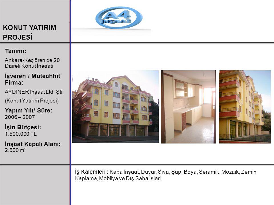 Tanımı: Ankara-Keçiören'de 20 Daireli Konut İnşaatı İşveren / Müteahhit Firma: AYDINER İnşaat Ltd. Şti. (Konut Yatırım Projesi) Yapım Yılı/ Süre: 2006