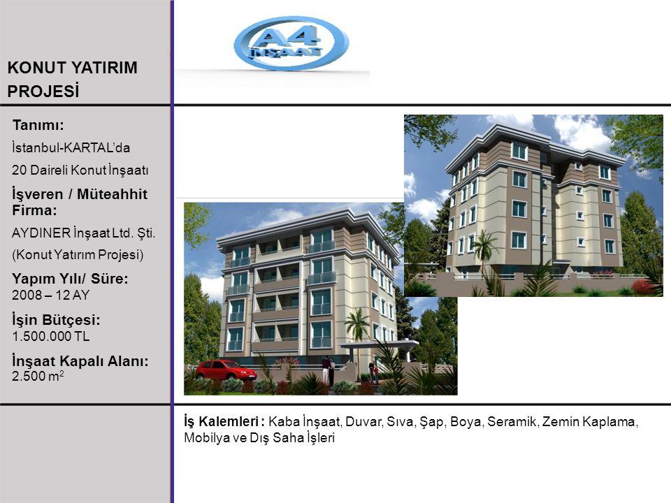 Tanımı: İstanbul-KARTAL'da 20 Daireli Konut İnşaatı İşveren / Müteahhit Firma: AYDINER İnşaat Ltd. Şti. (Konut Yatırım Projesi) Yapım Yılı/ Süre: 2008