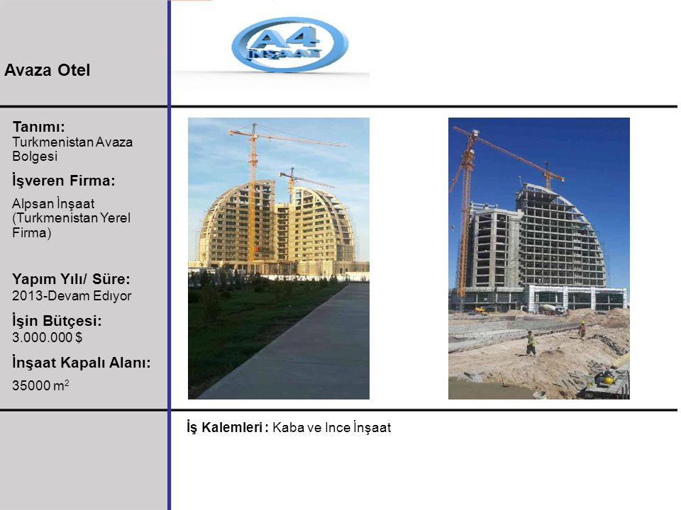 Tanımı: Turkmenistan Avaza Bolgesi İşveren Firma: Alpsan İnşaat (Turkmenistan Yerel Firma) Yapım Yılı/ Süre: 2013-Devam Edıyor İşin Bütçesi: 3.000.000