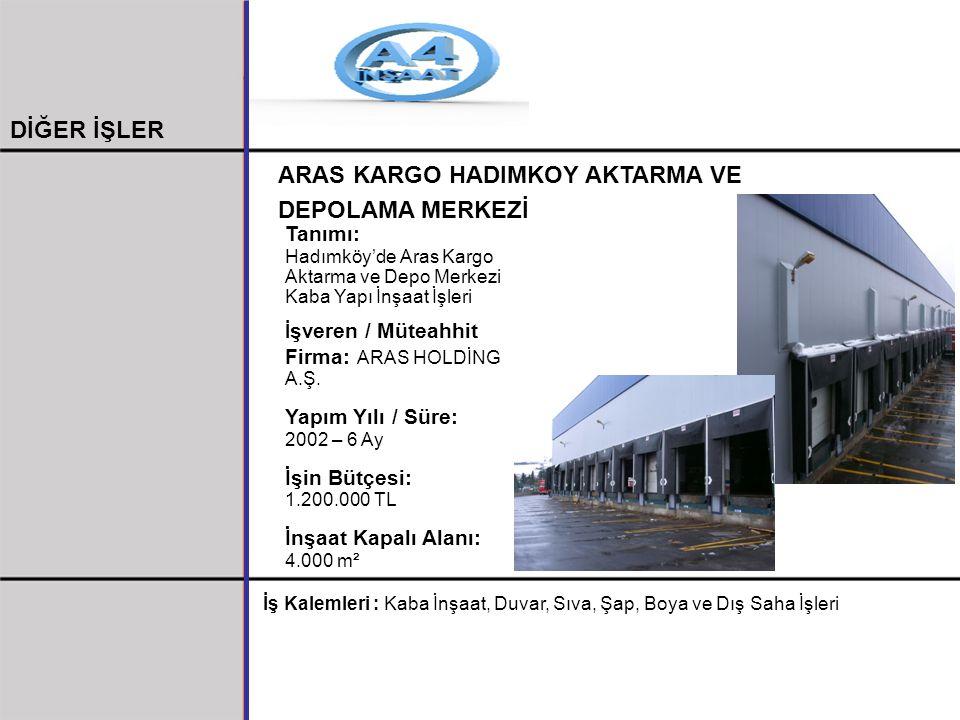 ARAS KARGO HADIMKOY AKTARMA VE DEPOLAMA MERKEZİ Tanımı: Hadımköy'de Aras Kargo Aktarma ve Depo Merkezi Kaba Yapı İnşaat İşleri İ şveren / Müteahhit Fi