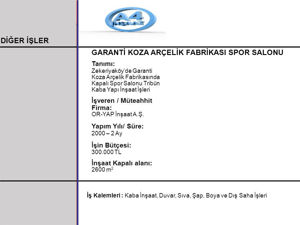 GARANTİ KOZA ARÇELİK FABRİKASI SPOR SALONU Tanımı: Zekeriyaköy'de Garanti Koza Arçelik Fabrikasında Kapalı Spor Salonu Tribün Kaba Yapı İnşaat İşleri