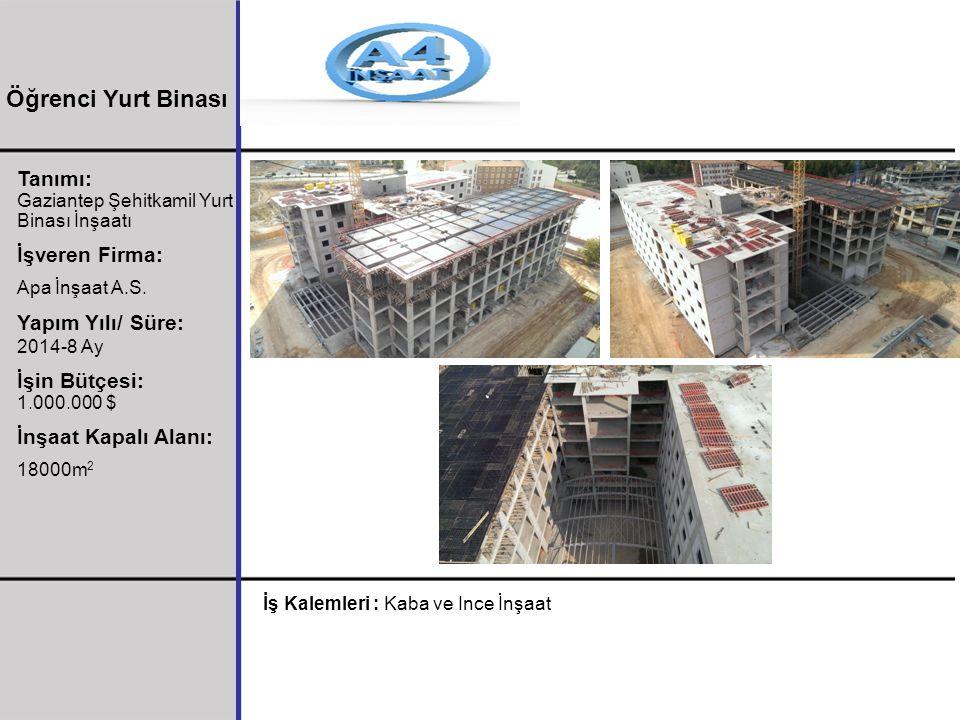 Tanımı: Gaziantep Şehitkamil Yurt Binası İnşaatı İşveren Firma: Apa İnşaat A.S. Yapım Yılı/ Süre: 2014-8 Ay İşin Bütçesi: 1.000.000 $ İnşaat Kapalı Al