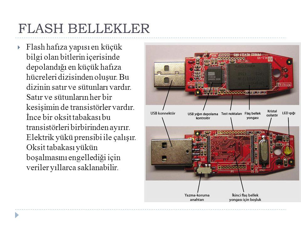 FLASH BELLEKLER  Flash hafıza yapısı en küçük bilgi olan bitlerin içerisinde depolandığı en küçük hafıza hücreleri dizisinden oluşur. Bu dizinin satı