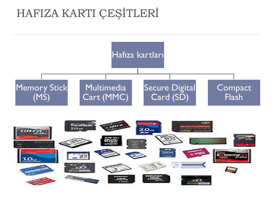 HAFIZA KARTI ÇEŞİTLERİ Hafıza kartları Memory Stick (MS) Multimedia Cart (MMC) Secure Digital Card (SD) Compact Flash