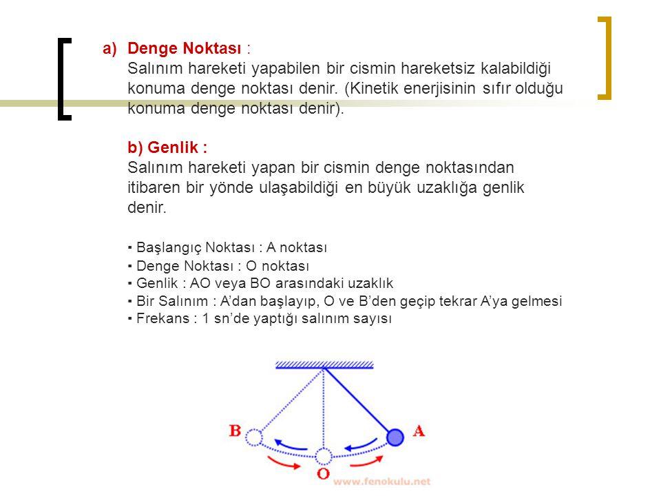a)Denge Noktası : Salınım hareketi yapabilen bir cismin hareketsiz kalabildiği konuma denge noktası denir. (Kinetik enerjisinin sıfır olduğu konuma de