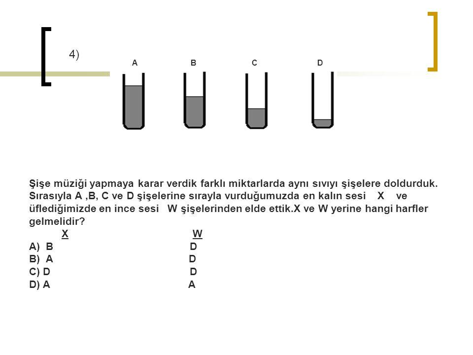 A B C D Şişe müziği yapmaya karar verdik farklı miktarlarda aynı sıvıyı şişelere doldurduk. Sırasıyla A,B, C ve D şişelerine sırayla vurduğumuzda en k