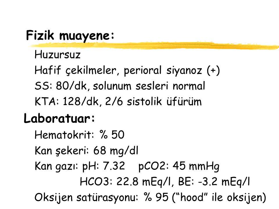 Fizik muayene: Huzursuz Hafif çekilmeler, perioral siyanoz (+) SS: 80/dk, solunum sesleri normal KTA: 128/dk, 2/6 sistolik üfürüm Laboratuar: Hematokr