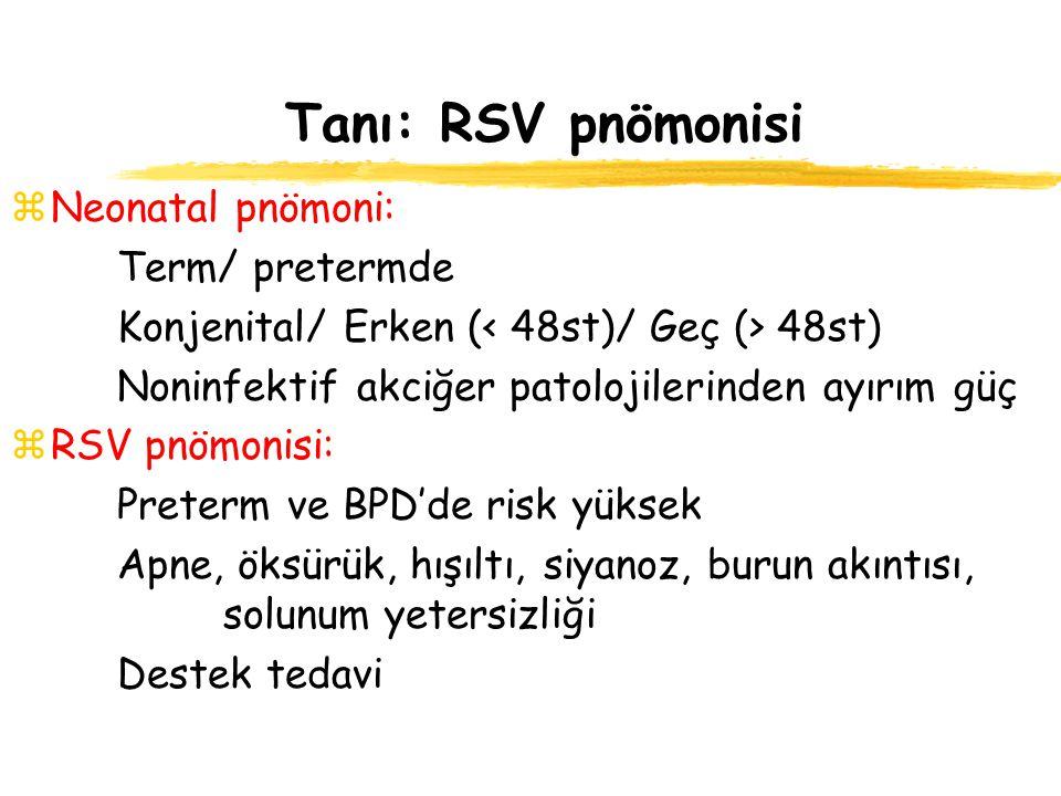 Tanı: RSV pnömonisi zNeonatal pnömoni: Term/ pretermde Konjenital/ Erken ( 48st) Noninfektif akciğer patolojilerinden ayırım güç zRSV pnömonisi: Prete