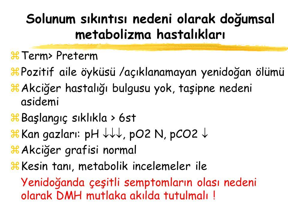 Solunum sıkıntısı nedeni olarak doğumsal metabolizma hastalıkları zTerm> Preterm zPozitif aile öyküsü /açıklanamayan yenidoğan ölümü zAkciğer hastalığ