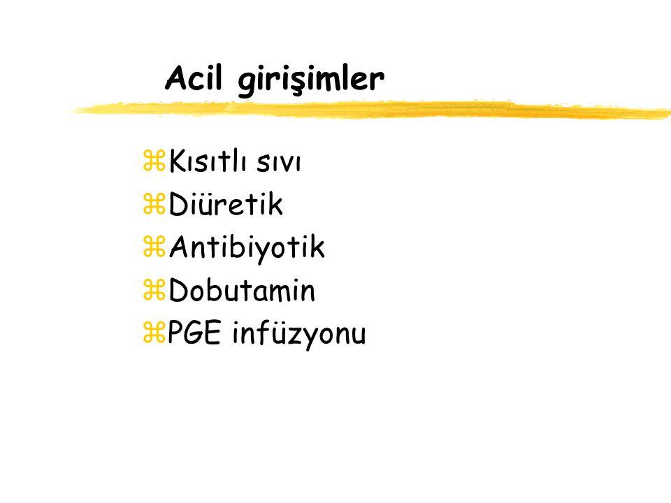Acil girişimler zKısıtlı sıvı zDiüretik zAntibiyotik zDobutamin zPGE infüzyonu