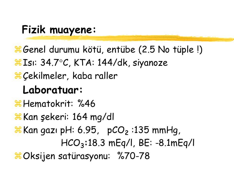Fizik muayene: zGenel durumu kötü, entübe (2.5 No tüple !) zIsı: 34.7  C, KTA: 144/dk, siyanoze zÇekilmeler, kaba raller Laboratuar: zHematokrit: %46