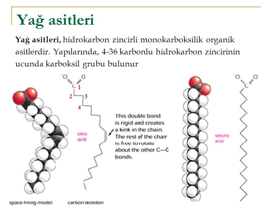 Yağ asitleri Doymuş (satüre) yağ asitleri: Doymamış (ansatüre) yağ asitleri: 1 23 4 Yağ asitleri, hidrokarbon zincirli monokarboksilik organik asitlerdir.