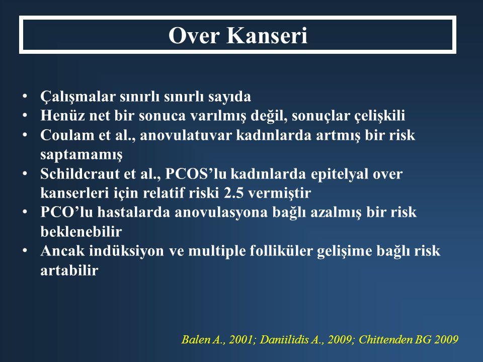 Balen A., 2001; Daniilidis A., 2009; Chittenden BG 2009 Over Kanseri Çalışmalar sınırlı sınırlı sayıda Henüz net bir sonuca varılmış değil, sonuçlar ç