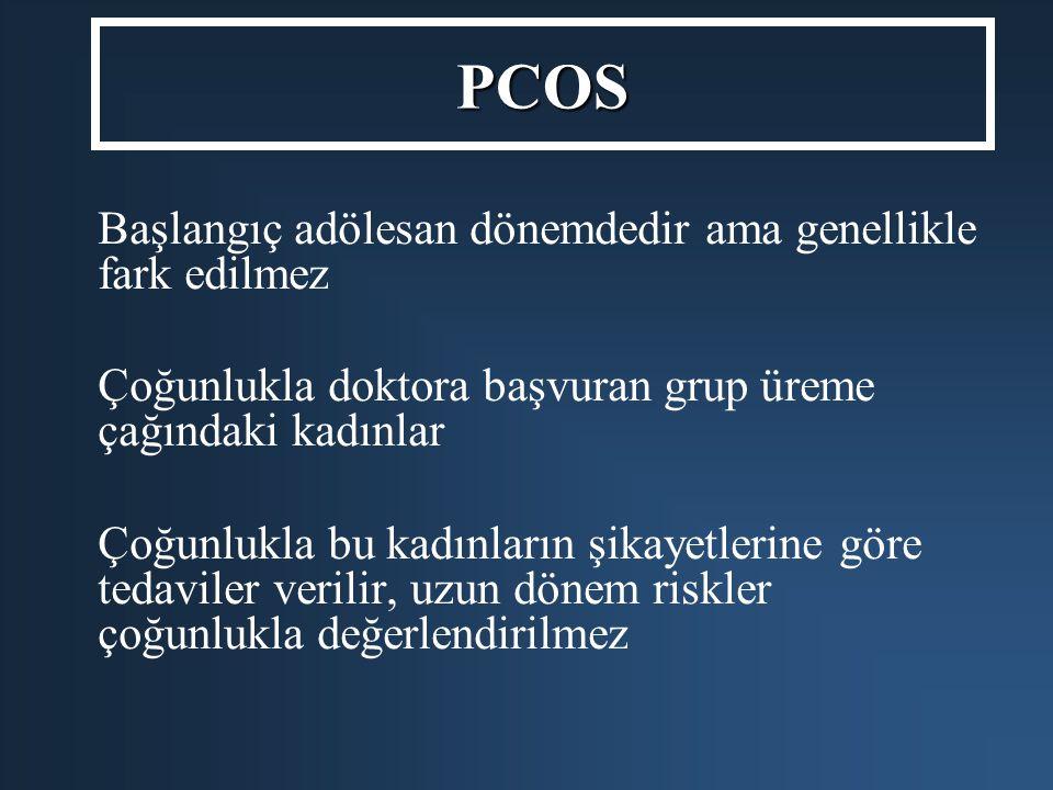PCOS Başlangıç adölesan dönemdedir ama genellikle fark edilmez Çoğunlukla doktora başvuran grup üreme çağındaki kadınlar Çoğunlukla bu kadınların şika
