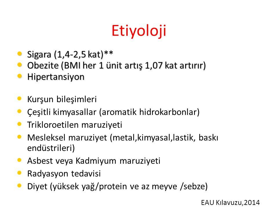 Etiyoloji Sigara (1,4-2,5 kat)** Sigara (1,4-2,5 kat)** Obezite (BMI her 1 ünit artış 1,07 kat artırır) Obezite (BMI her 1 ünit artış 1,07 kat artırır) Hipertansiyon Hipertansiyon Kurşun bileşimleri Çeşitli kimyasallar (aromatik hidrokarbonlar) Trikloroetilen maruziyeti Mesleksel maruziyet (metal,kimyasal,lastik, baskı endüstrileri) Asbest veya Kadmiyum maruziyeti Radyasyon tedavisi Diyet (yüksek yağ/protein ve az meyve /sebze) EAU Kılavuzu,2014