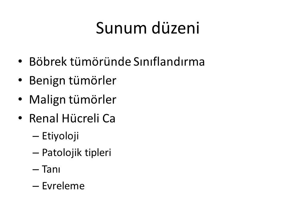 Sunum düzeni Böbrek tümöründe Sınıflandırma Benign tümörler Malign tümörler Renal Hücreli Ca – Etiyoloji – Patolojik tipleri – Tanı – Evreleme