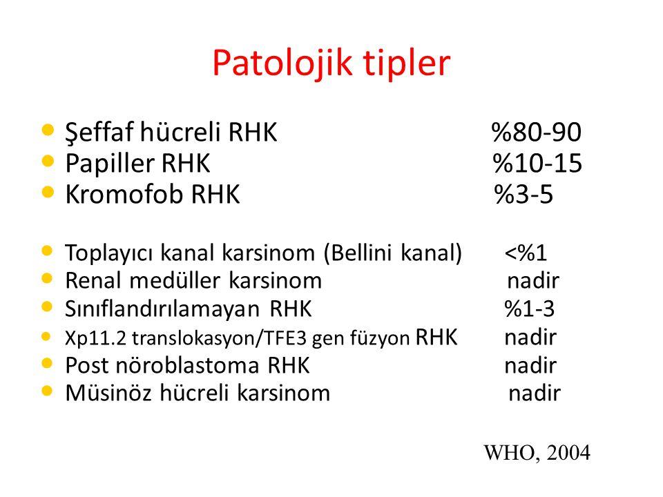 Patolojik tipler Şeffaf hücreli RHK %80-90 Papiller RHK %10-15 Kromofob RHK %3-5 Toplayıcı kanal karsinom (Bellini kanal) <%1 Renal medüller karsinom nadir Sınıflandırılamayan RHK%1-3 Xp11.2 translokasyon/TFE3 gen füzyon RHKnadir Post nöroblastoma RHKnadir Müsinöz hücreli karsinom nadir WHO, 2004