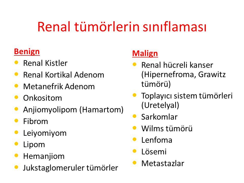 Renal tümörlerin sınıflaması Benign Renal Kistler Renal Kortikal Adenom Metanefrik Adenom Onkositom Anjiomyolipom (Hamartom) Fibrom Leiyomiyom Lipom Hemanjiom Jukstaglomeruler tümörler Malign Renal hücreli kanser (Hipernefroma, Grawitz tümörü) Toplayıcı sistem tümörleri (Uretelyal) Sarkomlar Wilms tümörü Lenfoma Lösemi Metastazlar