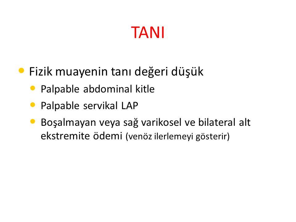 TANI Fizik muayenin tanı değeri düşük Palpable abdominal kitle Palpable servikal LAP Boşalmayan veya sağ varikosel ve bilateral alt ekstremite ödemi (venöz ilerlemeyi gösterir)