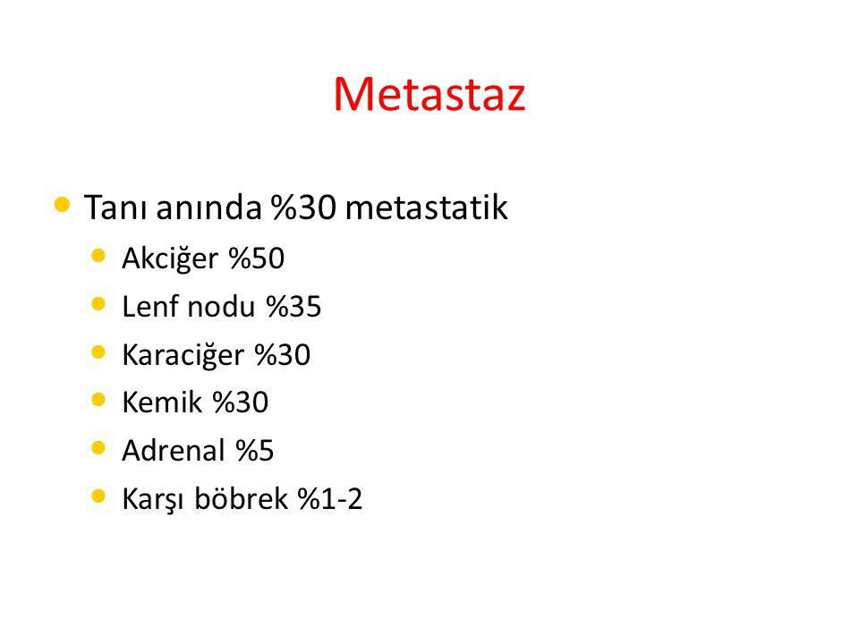 Metastaz Tanı anında %30 metastatik Akciğer %50 Lenf nodu %35 Karaciğer %30 Kemik %30 Adrenal %5 Karşı böbrek %1-2
