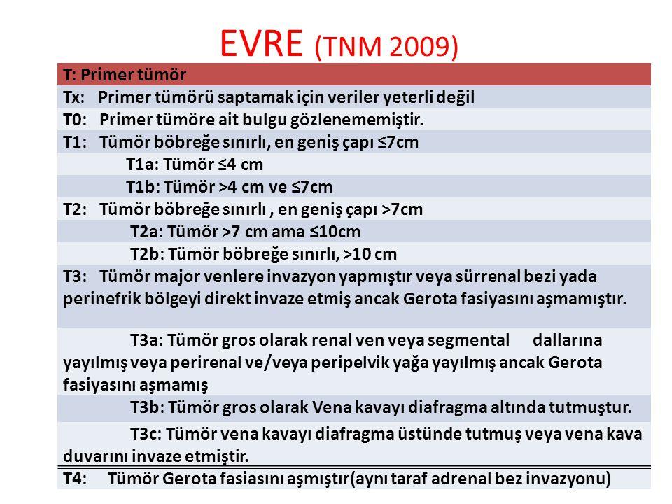 EVRE (TNM 2009) T: Primer tümör Tx: Primer tümörü saptamak için veriler yeterli değil T0: Primer tümöre ait bulgu gözlenememiştir.