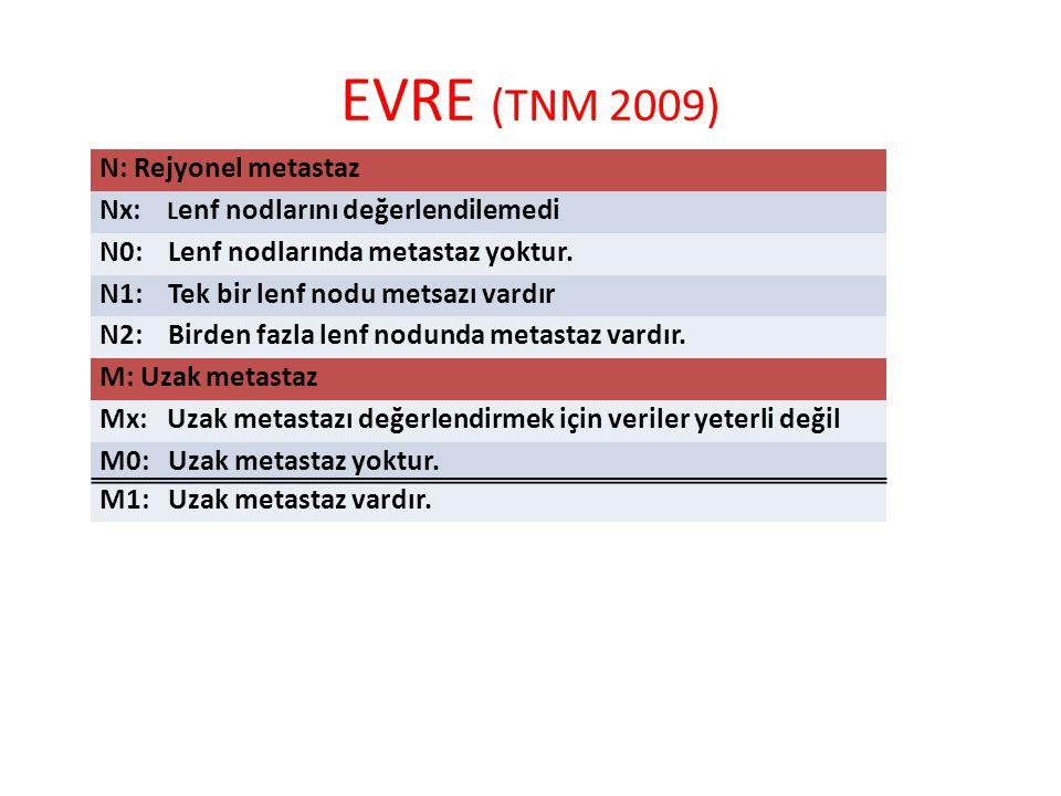 EVRE (TNM 2009) N: Rejyonel metastaz Nx: L enf nodlarını değerlendilemedi N0: Lenf nodlarında metastaz yoktur.