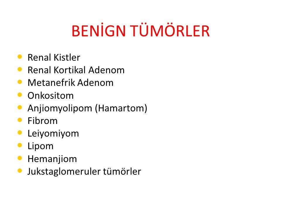 Renal Kistler En sık benign renal lezyon Erkek cinsiyet, ileri yaş, HT, böbrek yetmezliği ↑ Asemptomatik kitlelerin %70'ini oluşturur Malignite riski, edinsel kistik hastalıklar (von Hippel-Lindau ve tubero skleroz) birlikteliğinde fazla Tanı: USG, BT veya MRI Bosniak Sınıflandırması Bosniak Sınıflandırması