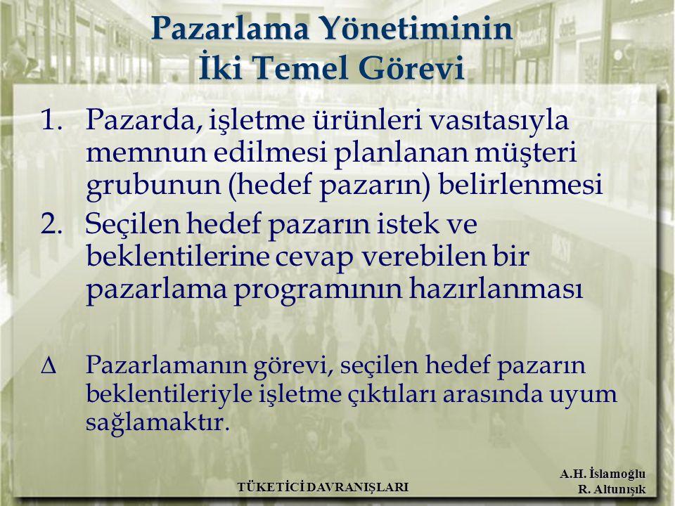 A.H. İslamoğlu R. Altunışık TÜKETİCİ DAVRANIŞLARI Pazarlama Yönetiminin İki Temel Görevi 1.Pazarda, işletme ürünleri vasıtasıyla memnun edilmesi planl