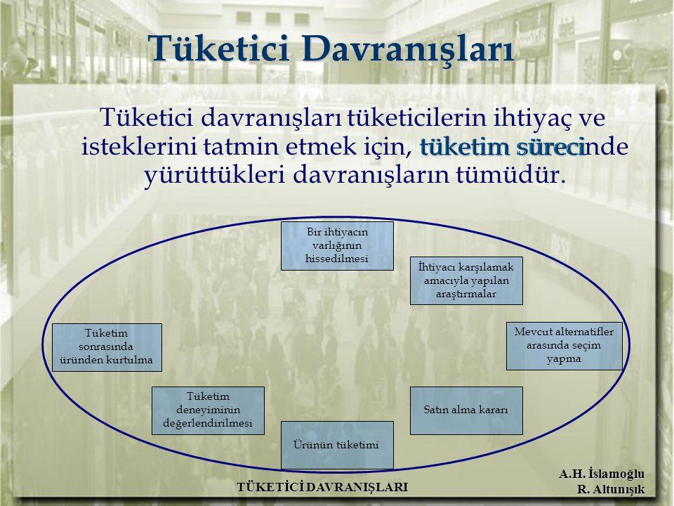 A.H. İslamoğlu R. Altunışık TÜKETİCİ DAVRANIŞLARI Tüketici Davranışları tüketim süreci Tüketici davranışları tüketicilerin ihtiyaç ve isteklerini tatm