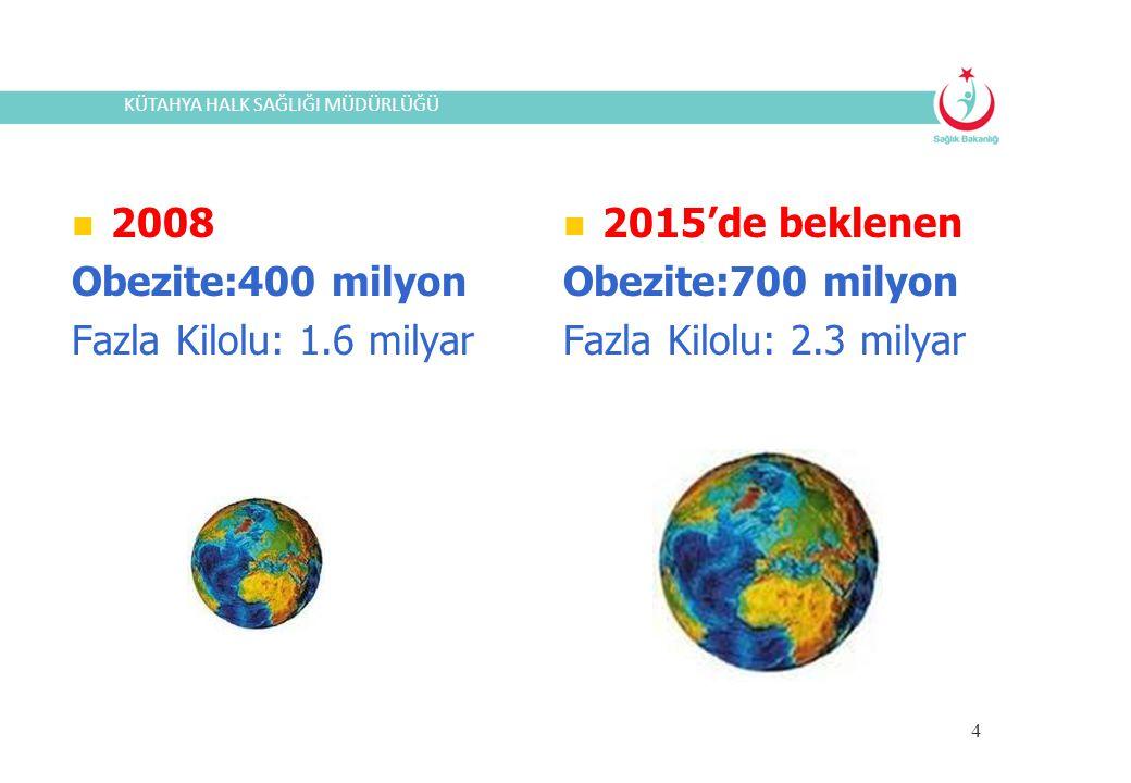 4 2008 Obezite:400 milyon Fazla Kilolu: 1.6 milyar 2015'de beklenen Obezite:700 milyon Fazla Kilolu: 2.3 milyar