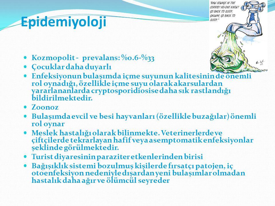 Epidemiyoloji Kozmopolit - prevalans: %0.6-%33 Çocuklar daha duyarlı Enfeksiyonun bulaşımda içme suyunun kalitesinin de önemli rol oynadığı, özellikle içme suyu olarak akarsulardan yararlananlarda cryptosporidiosise daha sık rastlandığı bildirilmektedir.
