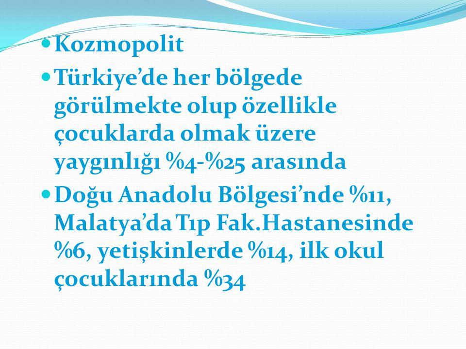 Kozmopolit Türkiye'de her bölgede görülmekte olup özellikle çocuklarda olmak üzere yaygınlığı %4-%25 arasında Doğu Anadolu Bölgesi'nde %11, Malatya'da Tıp Fak.Hastanesinde %6, yetişkinlerde %14, ilk okul çocuklarında %34