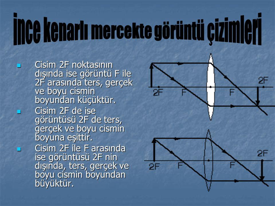 Cisim 2F noktasının dışında ise görüntü F ile 2F arasında ters, gerçek ve boyu cismin boyundan küçüktür. Cisim 2F noktasının dışında ise görüntü F ile