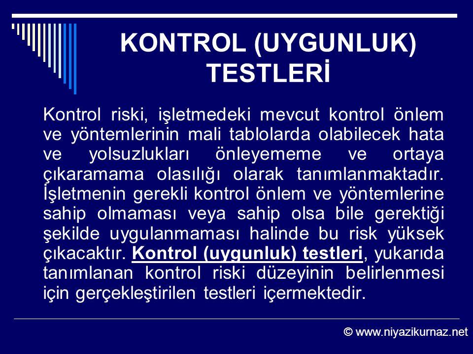 KONTROL (UYGUNLUK) TESTLERİ Kontrol riski, işletmedeki mevcut kontrol önlem ve yöntemlerinin mali tablolarda olabilecek hata ve yolsuzlukları önleyeme