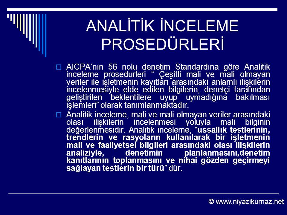 """ANALİTİK İNCELEME PROSEDÜRLERİ  AICPA'nın 56 nolu denetim Standardına göre Analitik inceleme prosedürleri """" Çeşitli mali ve mali olmayan veriler ile"""