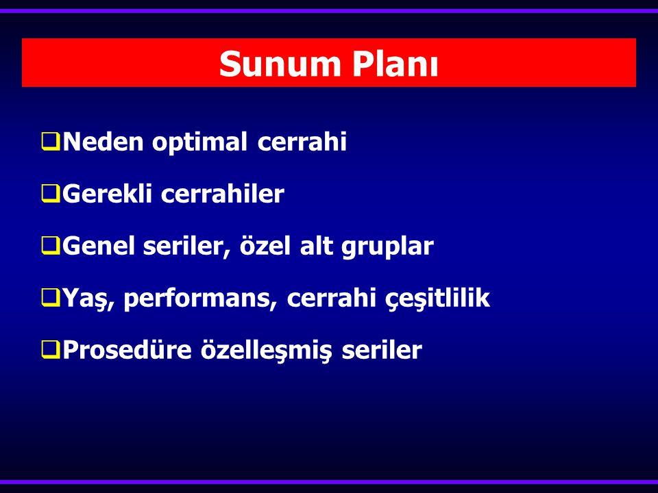 Sunum Planı  Neden optimal cerrahi  Gerekli cerrahiler  Genel seriler, özel alt gruplar  Yaş, performans, cerrahi çeşitlilik  Prosedüre özelleşmiş seriler