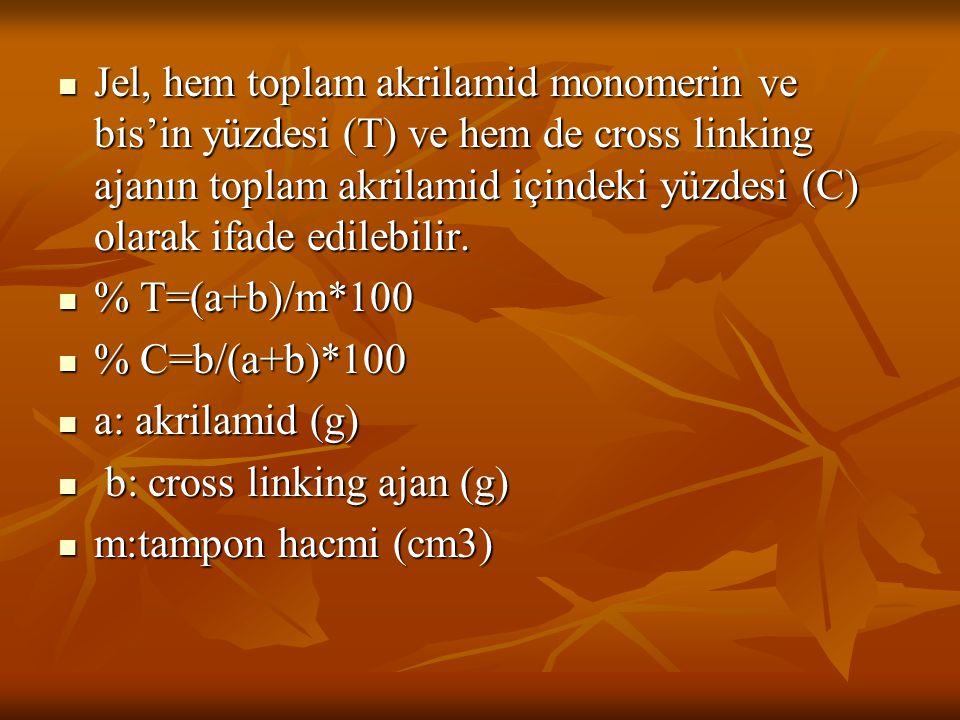 Jel, hem toplam akrilamid monomerin ve bis'in yüzdesi (T) ve hem de cross linking ajanın toplam akrilamid içindeki yüzdesi (C) olarak ifade edilebilir