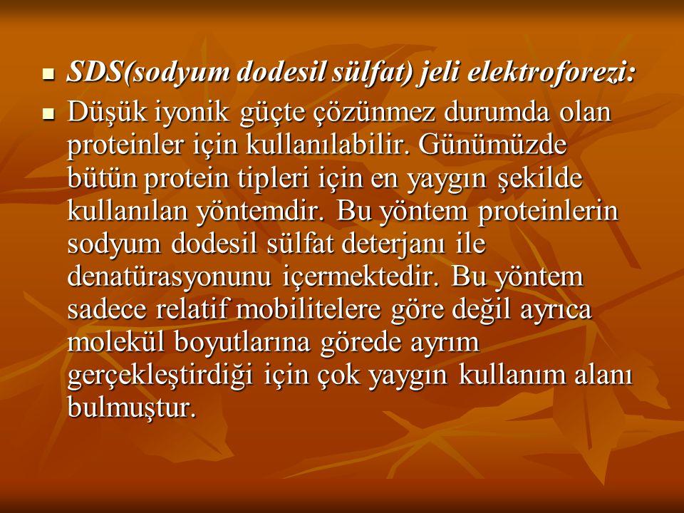 SDS(sodyum dodesil sülfat) jeli elektroforezi: SDS(sodyum dodesil sülfat) jeli elektroforezi: Düşük iyonik güçte çözünmez durumda olan proteinler için