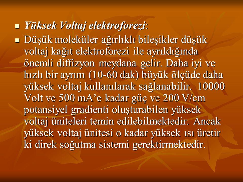 Yüksek Voltaj elektroforezi: Yüksek Voltaj elektroforezi: Düşük moleküler ağırlıklı bileşikler düşük voltaj kağıt elektroforezi ile ayrıldığında öneml