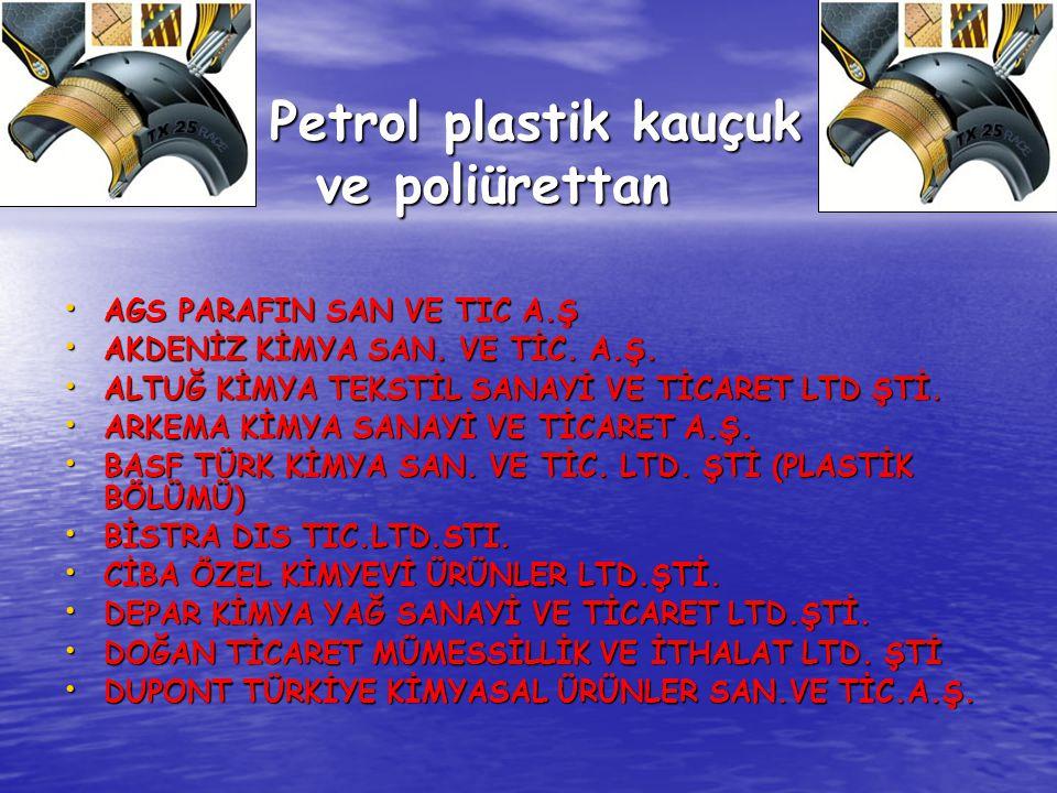 Petrol plastik kauçuk ve poliürettan Petrol plastik kauçuk ve poliürettan AGS PARAFIN SAN VE TIC A.Ş AGS PARAFIN SAN VE TIC A.Ş AKDENİZ KİMYA SAN. VE
