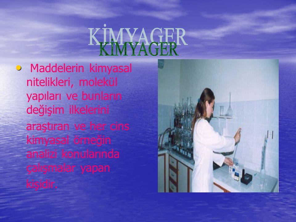 Maddelerin kimyasal nitelikleri, molekül yapıları ve bunların değişim ilkelerini araştıran ve her cins kimyasal örneğin analizi konularında çalışmalar