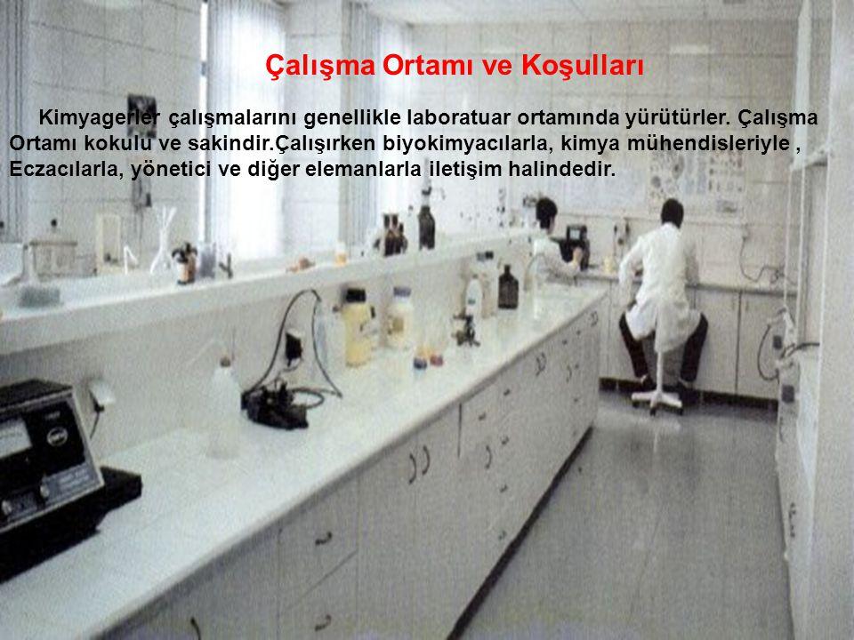 Çalışma Ortamı ve Koşulları Kimyagerler çalışmalarını genellikle laboratuar ortamında yürütürler. Çalışma Ortamı kokulu ve sakindir.Çalışırken biyokim