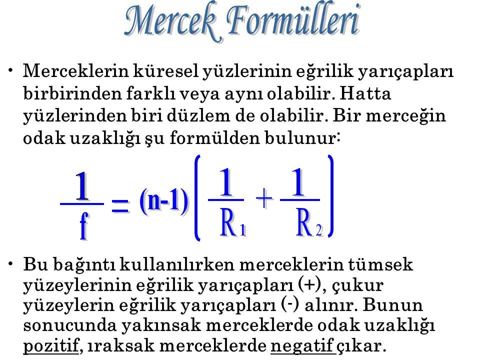 Cismin yeri Görüntünün özellikleri Sonsuz Odakta, nokta, gerçek Sonsuz – 2f arası F – 2F arasında, küçük, gerçek, ters 2F de 2F de cisme eşit, gerçek,