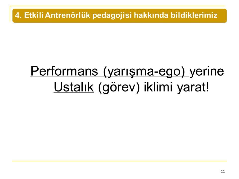 4. Etkili Antrenörlük pedagojisi hakkında bildiklerimiz 22 Performans (yarışma-ego) yerine Ustalık (görev) iklimi yarat!