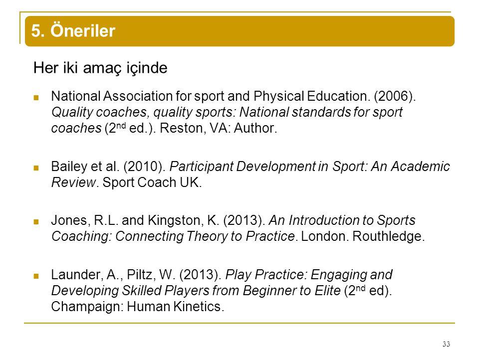 5. Öneriler Her iki amaç içinde National Association for sport and Physical Education. (2006). Quality coaches, quality sports: National standards for